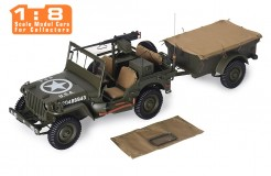 JEEP Willys MB USA Army + Trailer and M3 Gun 1943